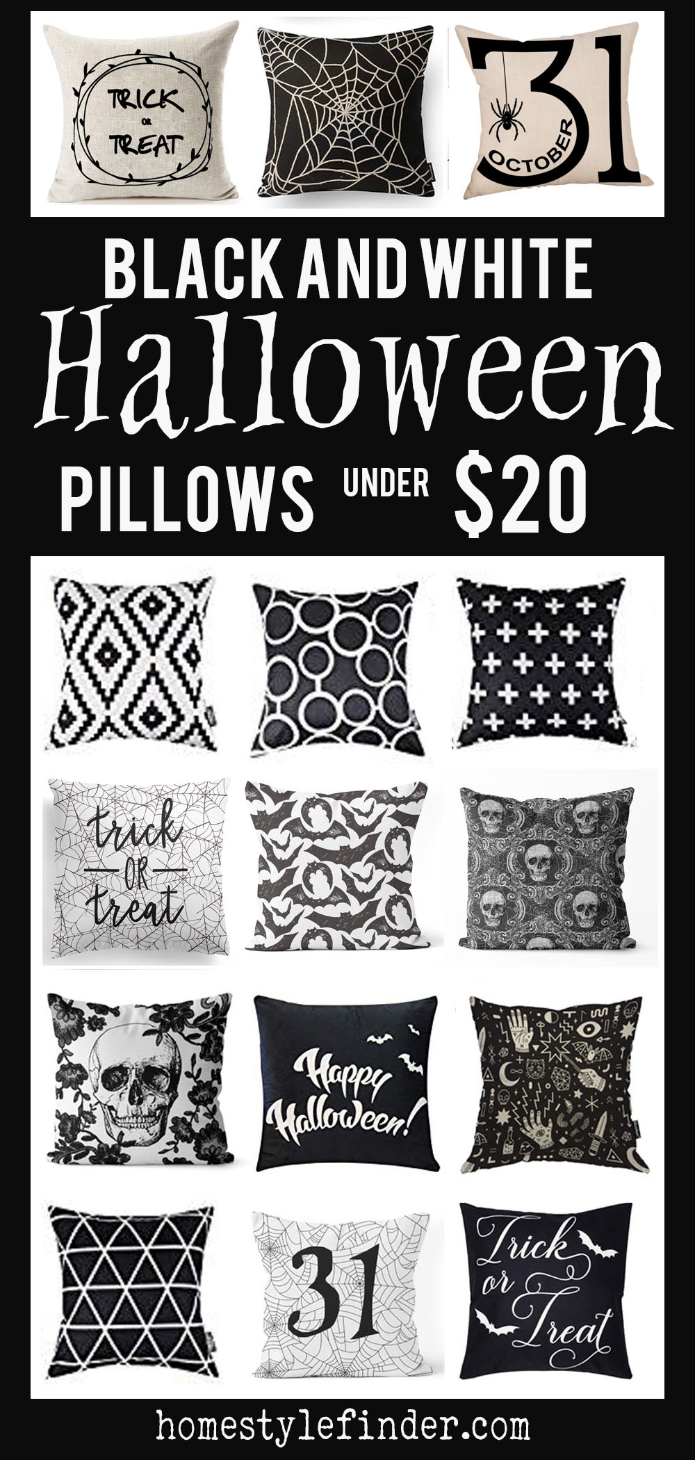 Black And White Halloween Throw Pillow Covers For Under 20 Home Style Finder